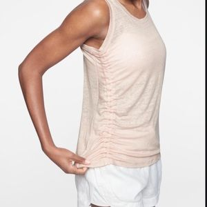 Athleta linen tank with ruching